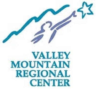 The logo for VMRC shows representation of mountains, a person reaching for a star, and the words Valley Mountain Regional Center