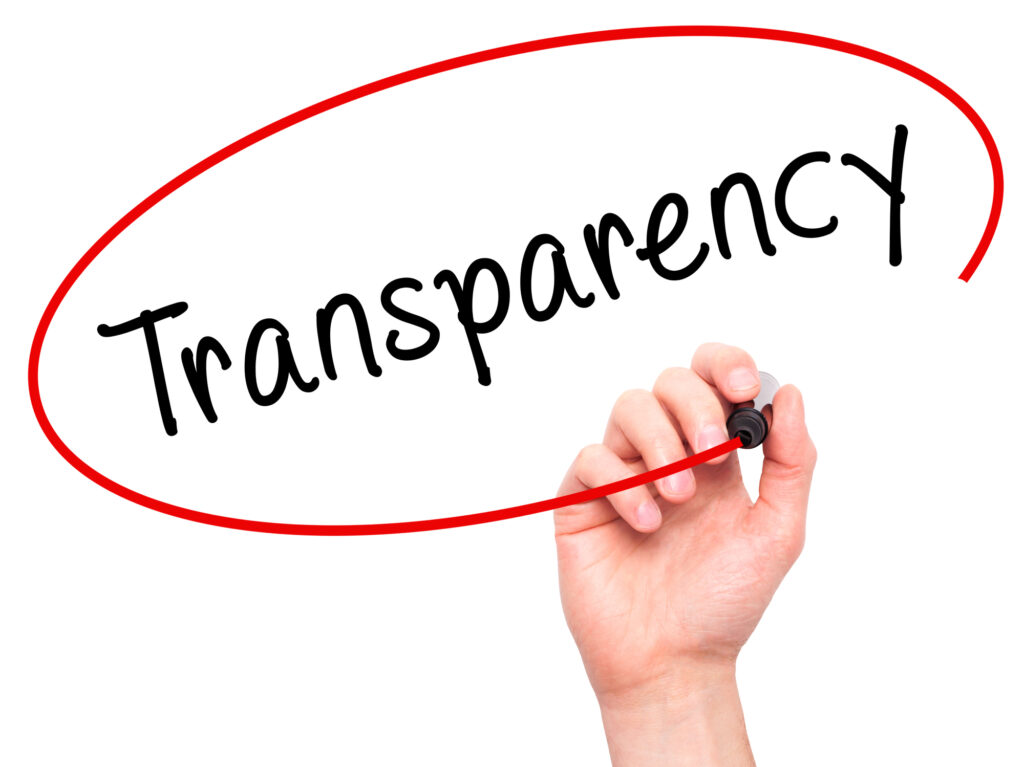 Transparency. Man Hand writing Transparency with marker on transparent wipe board. Isolated on white. Business, internet, technology concept.